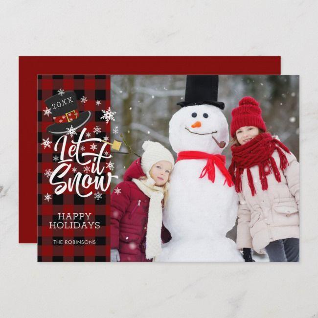 Red Buffalo Plaid LET IT SNOW Custom Greeting Holiday Card