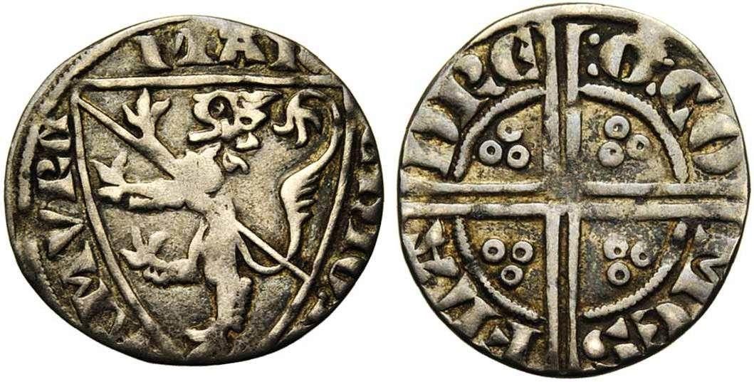 NAMUR, Comté, Gui de Dampierre (1263-1297), AR esterlin à l'écu, à partir de 1283, Droit : MAR-CHIO N-AMVRC Ecu au lion péri en bande. Revers : :G: CO-MES- FLA-DRE Croix double coupant la légende, cantonnée de quatre groupes de trois annelets.