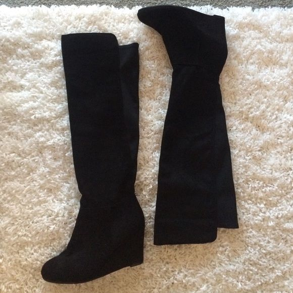 d00e5d957cef In excellent condition. Suede like look with stretchy material in back for wide  calves. Small wedge Chinese Laundry Shoes Over the Knee Boots