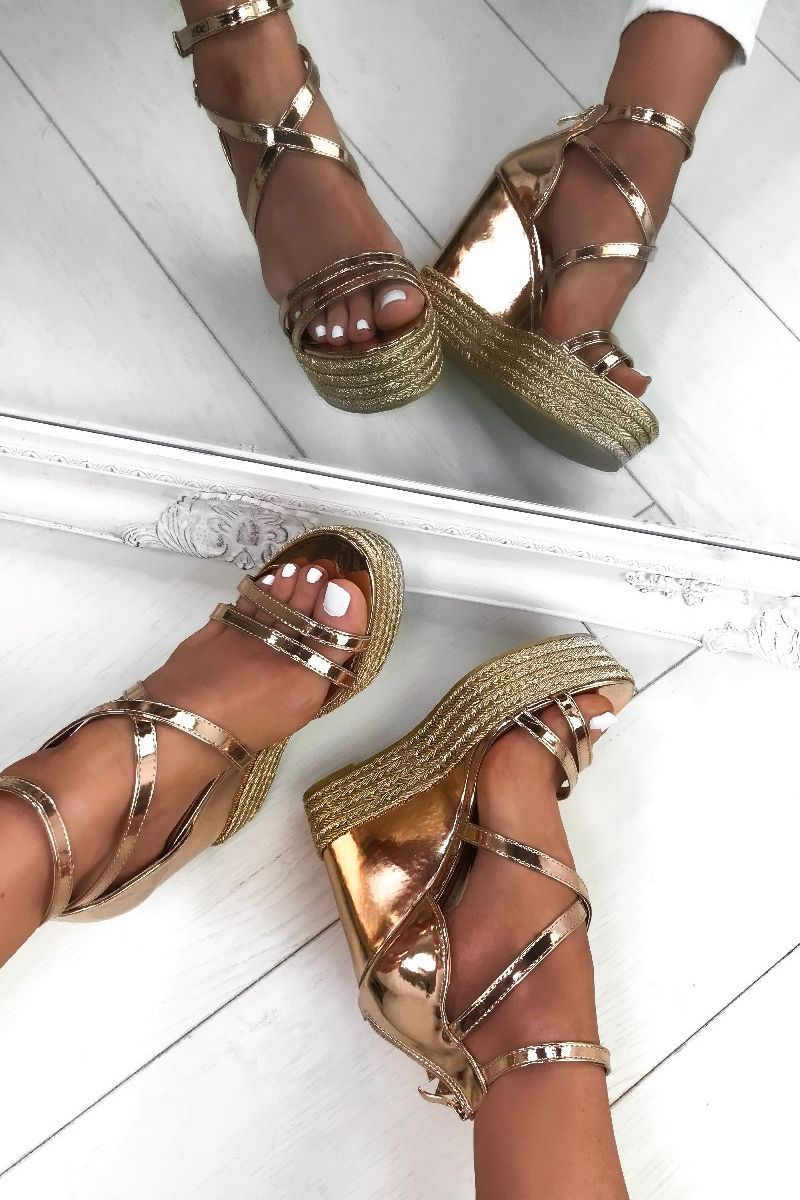 9ddef22ab99b Rose Gold slaying perfect for all the vacays you ve got booked ! Search Sia on  our website to find these beauts.  summer  lavishluxe  wedges  rosegold