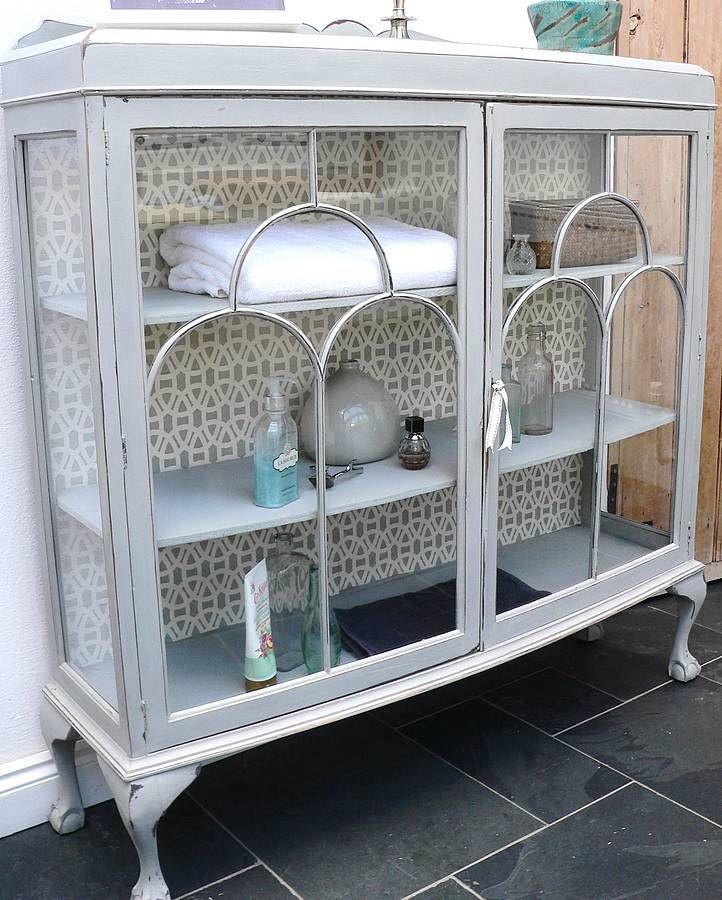 Vintage Painted Glass Display Cabinet