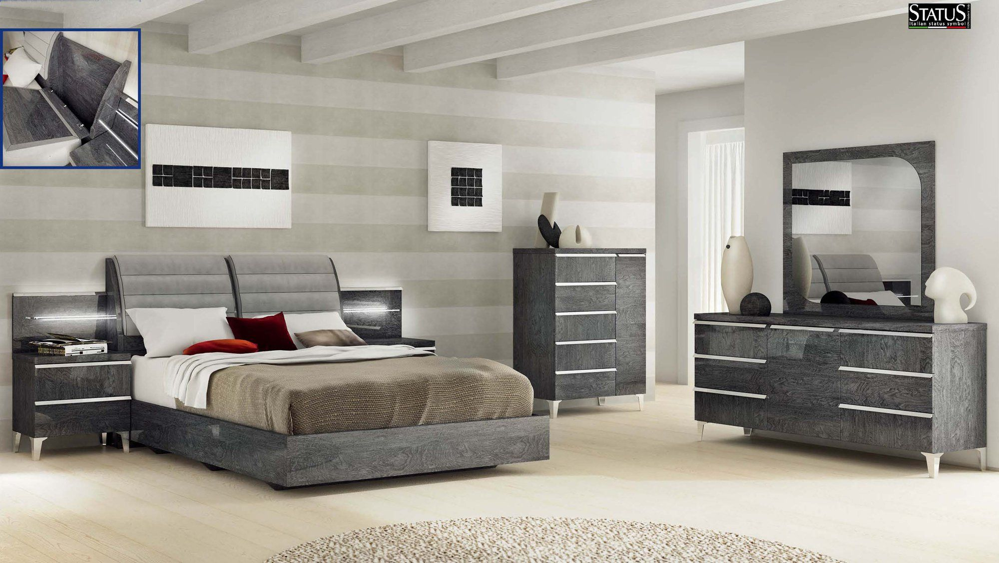 Elite Grey Birch Bedroom Set By Esf Modern Bedroom Set Bedroom