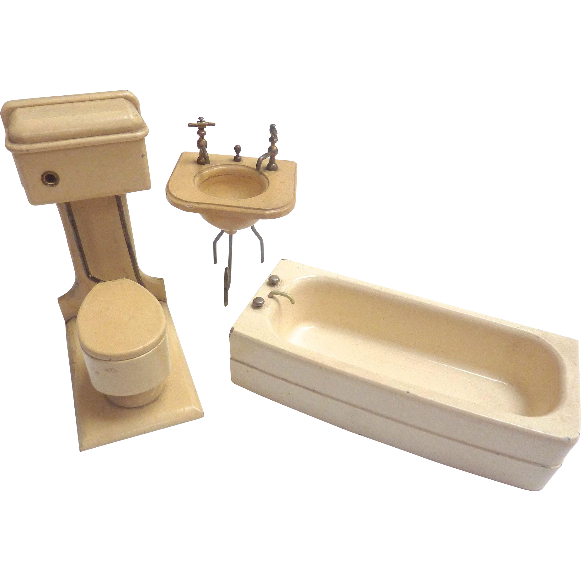 Vintage GERMAN Dollhouse Miniature Wooden BATHROOM Toilet Sink Tub