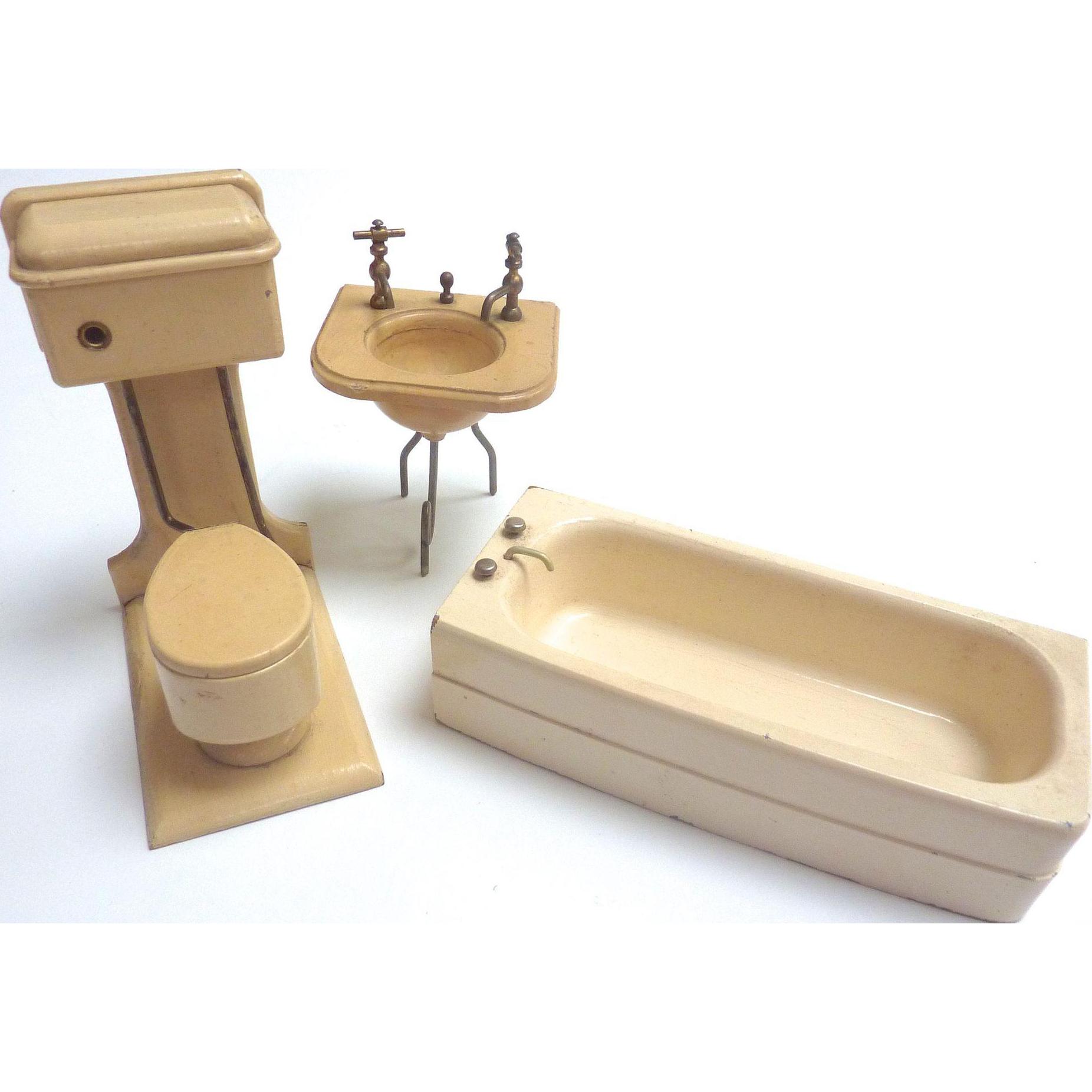 Vintage GERMAN Dollhouse Miniature Wooden BATHROOM Toilet ...