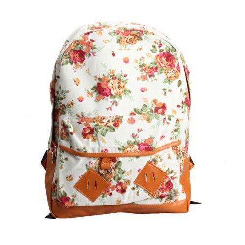 Women Floral Vogue Backpack Lady Travel Canvas Totes Shoulder Bag White
