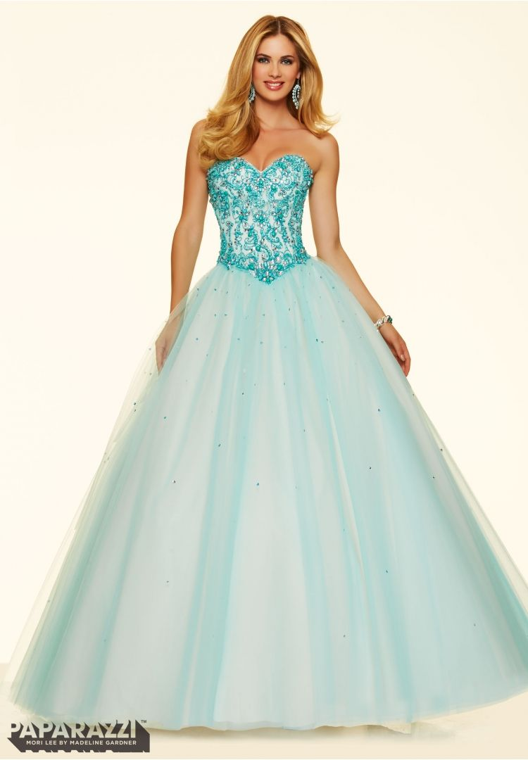 Prom Dress Crystal and Turquoise Stones on a Tulle Ball Gown Light ...