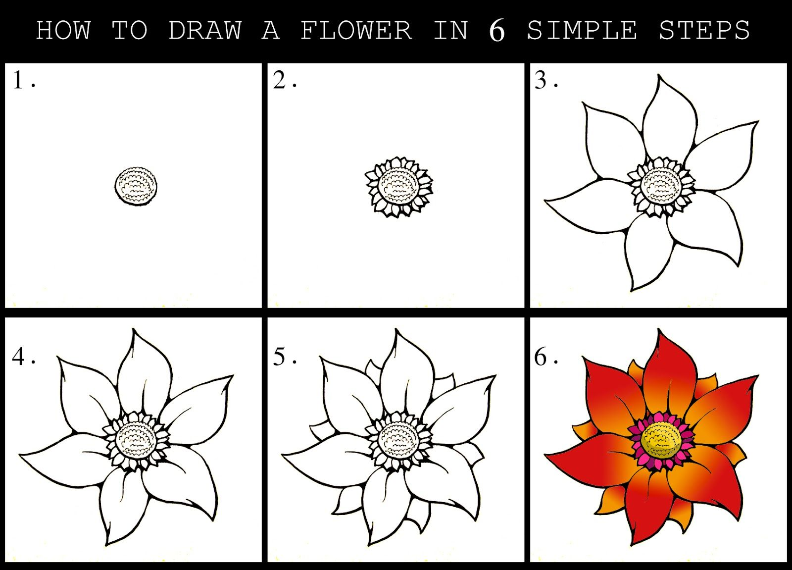 How to draw a flower in stages 62
