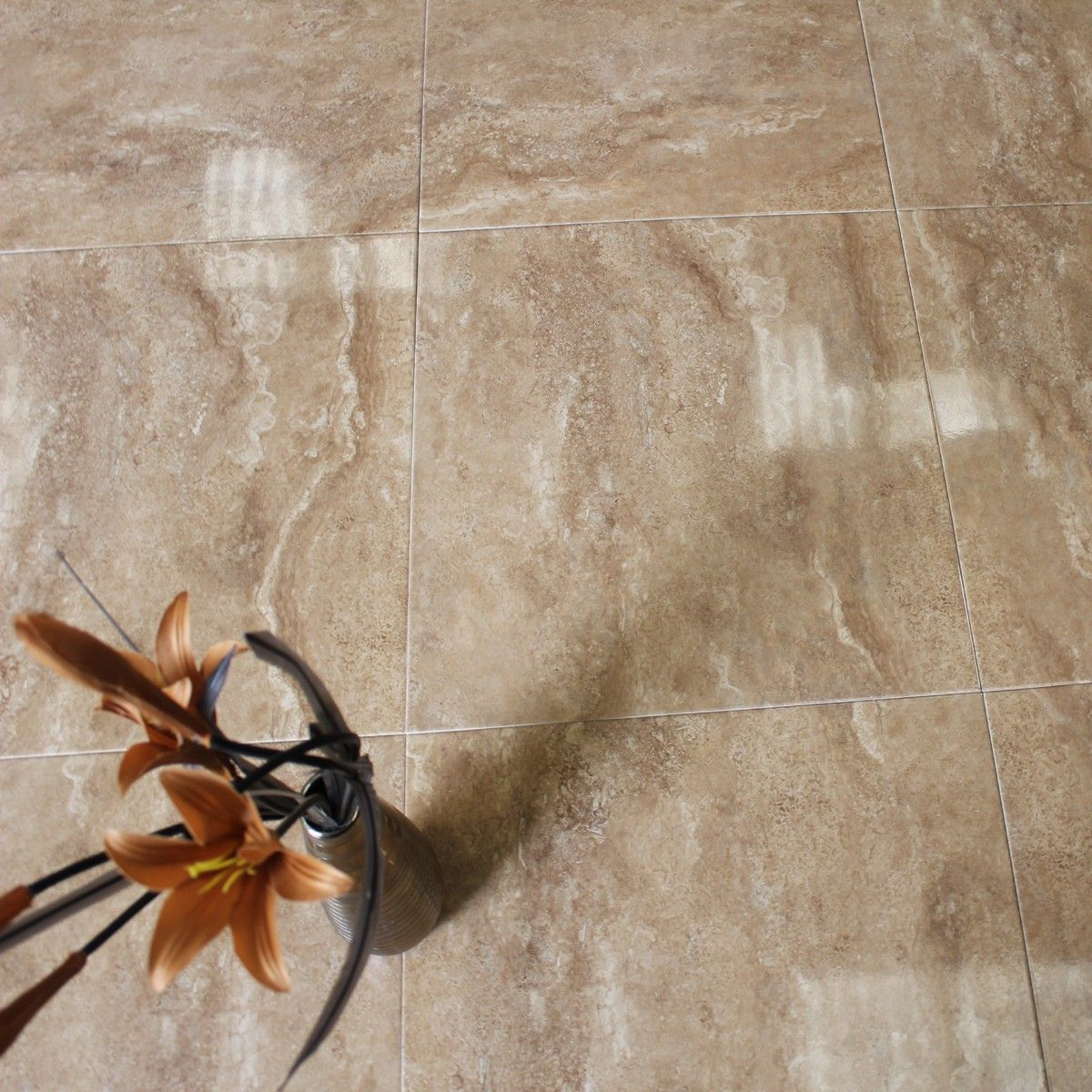 Flavio - A brown coloured marble effect floor tile with high gloss ...