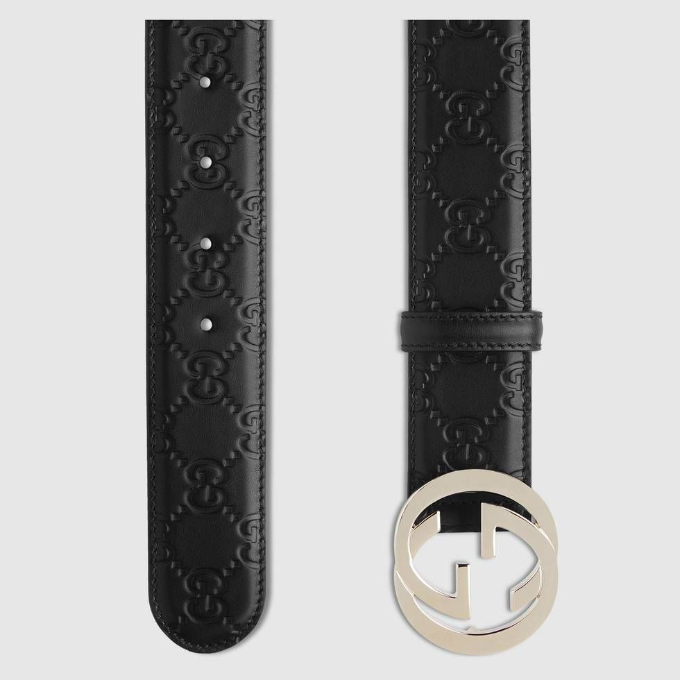 3f821addf Shop the Gucci Signature leather belt by Gucci. Our interlocking G buckle  on our classic belt, made in heat debossed Gucci Signature leather  resulting in a ...