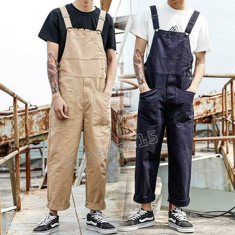 New Mens Denim Overalls Jumpsuit Suspender Jeans Trousers Casual Pants Loose