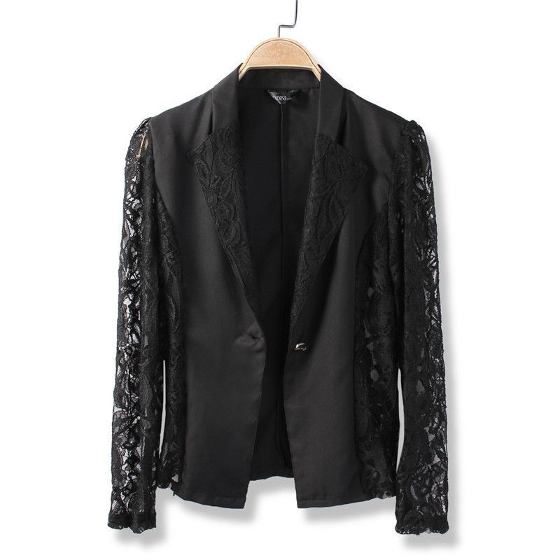Fashion Women Sexy Sheer Lace Patchwork Blazer Coat Lady Suit ...