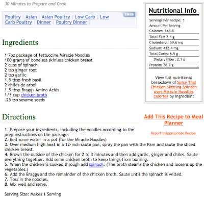 hCG Phase 2 - Spicy Thai Chicken Sizzling Spinach over
