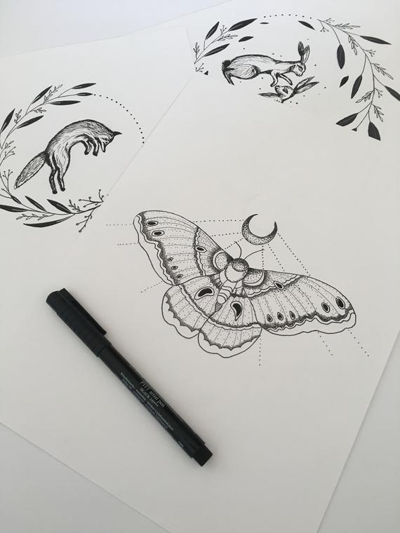 , Witchy moth illustration | Goth | Dotwork | Tattoo | Cute wall art | Art print | Insect | Moon print, My Tattoo Blog 2020, My Tattoo Blog 2020
