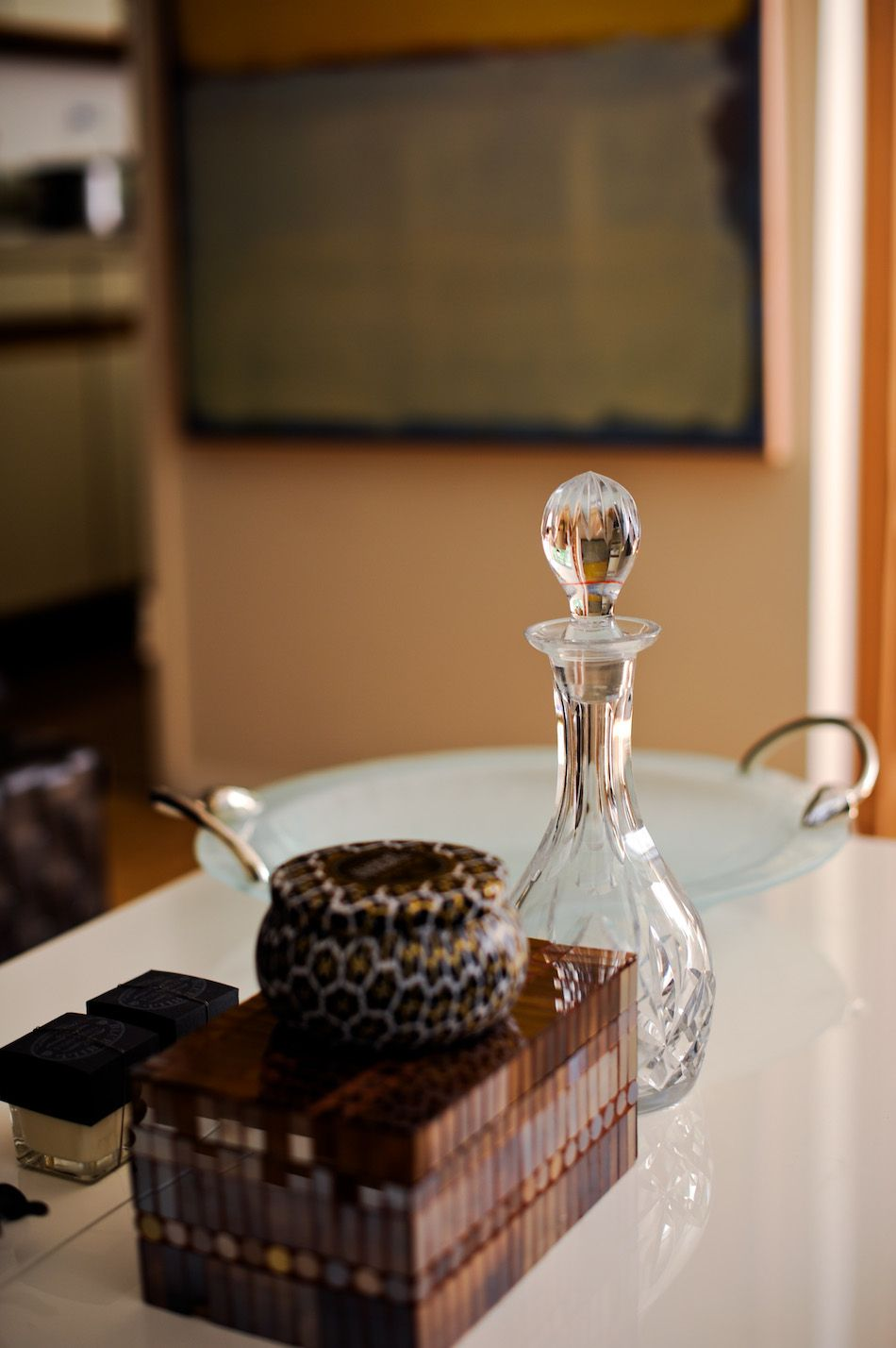 Delightful Coffee Table Accents   Crystal Wine Decanter, Michael Aram Bowl, Volupsa  Candle