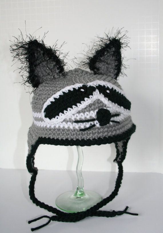 RACCOON Ear Flap Hat Crochet Pattern | Babies | Pinterest | Gorros ...