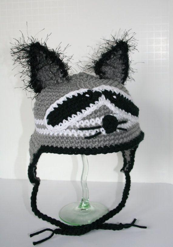 RACCOON Ear Flap Hat Crochet Pattern $ . | Baby, that\'s cute ...