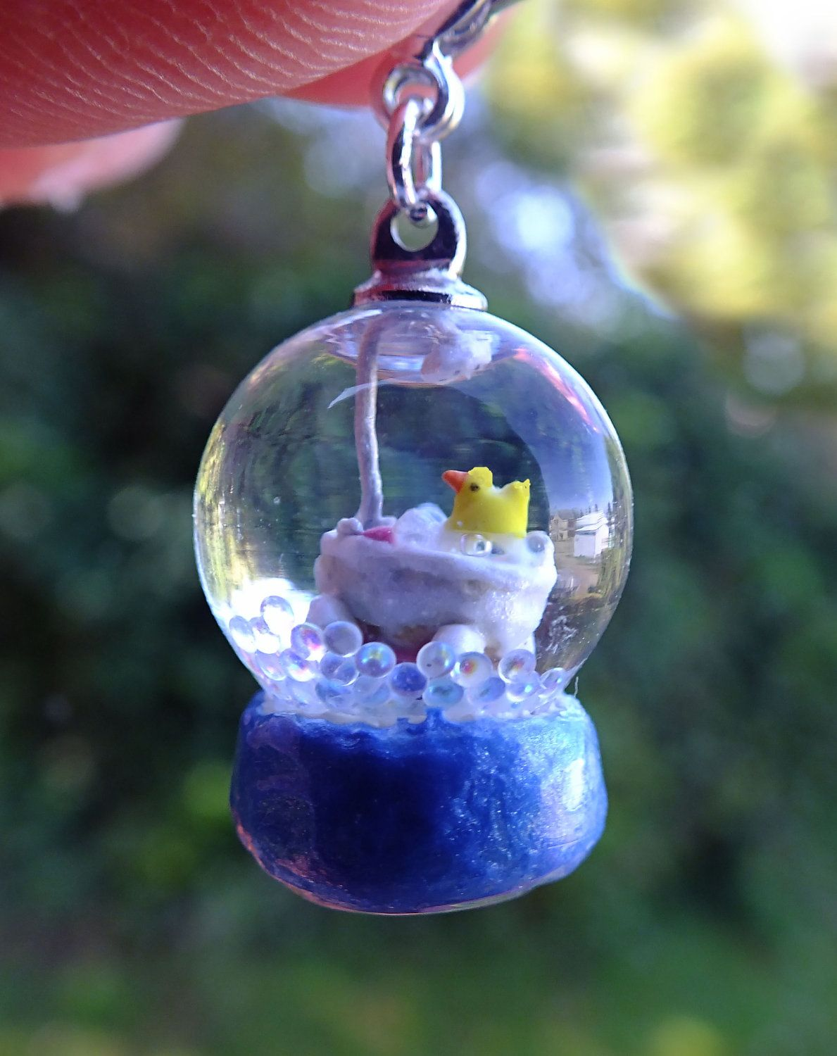 Miniature Real Working GLASS Snowglobe Rubber Ducky