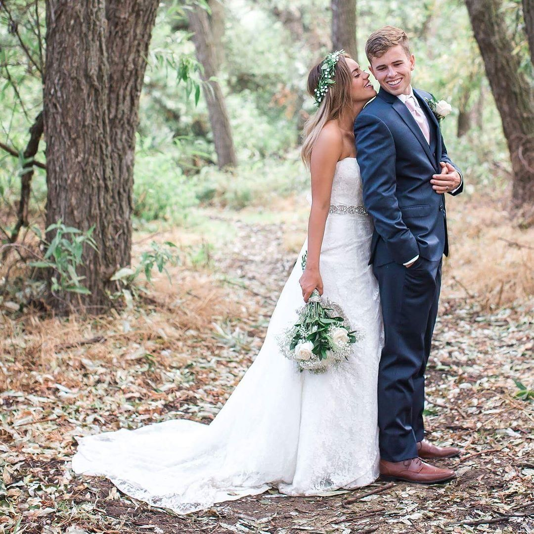 Rustic Outdoor Wedding. Wedding Dress: Allover Lace A Line Strapless Wedding  Dress From Davidu0027s Bridal Collection.