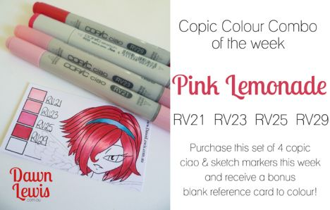 Copic Colour Combo of the week Pink Lemonade
