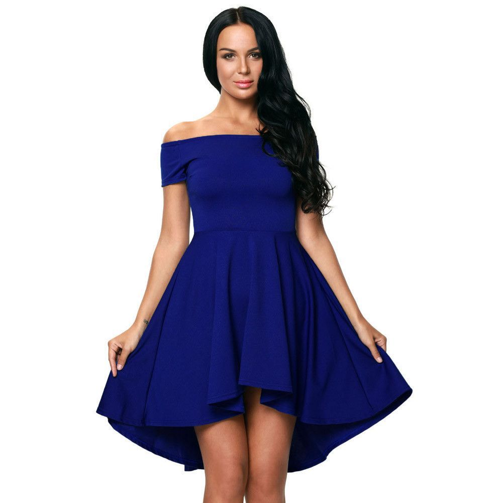 Pure color offshoulder flared irregular short dress dresses