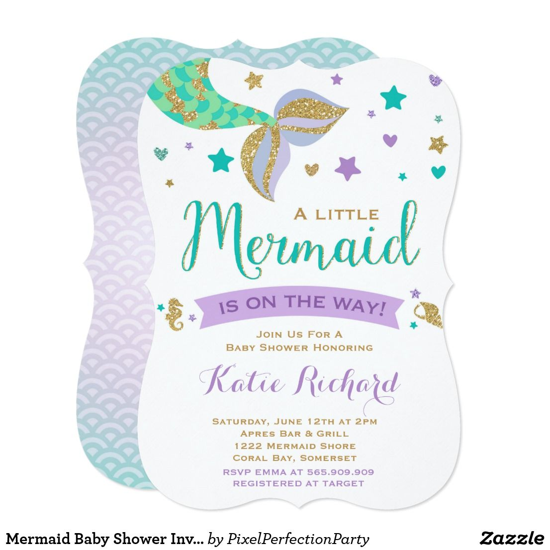 Mermaid Baby Shower Invitation Teal Purple Gold | Mermaid baby ...