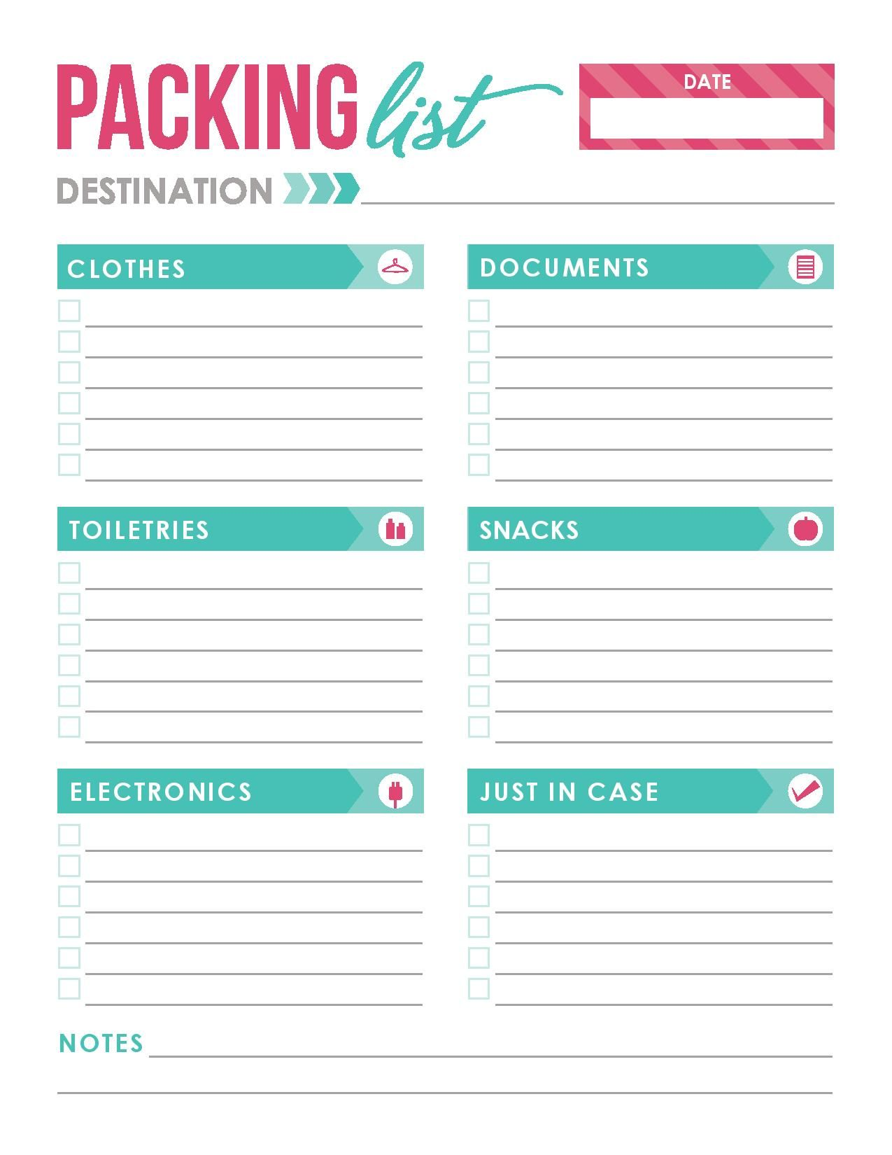 Free Printable Glamorous Green And Pink Packing List Template
