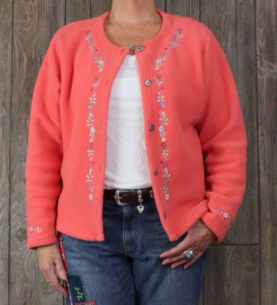 Perfect Lightweight LL Bean Fleece Jacket XL size Orange Pink ...
