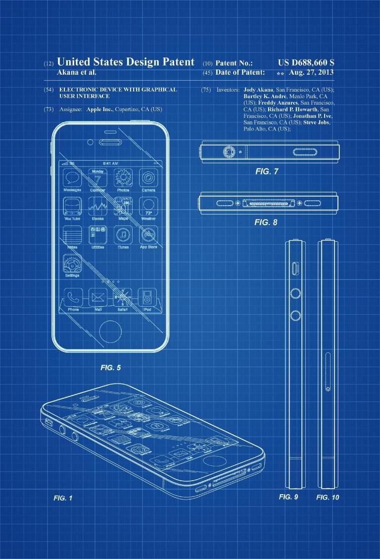 Apple Iphone 4 Patent Patent Print Wall Decor Iphone Patent