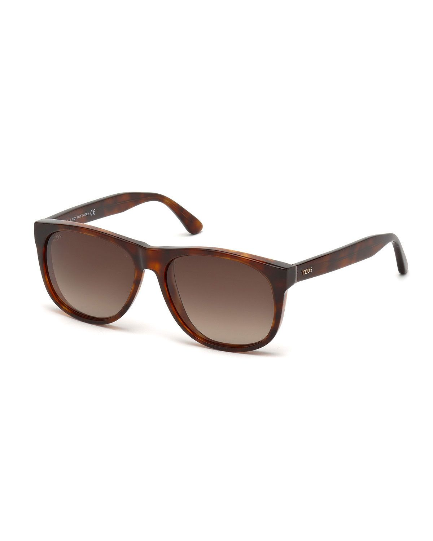 Tod's Small Plastic Sunglasses, Dark Havana, Men's, Size: S