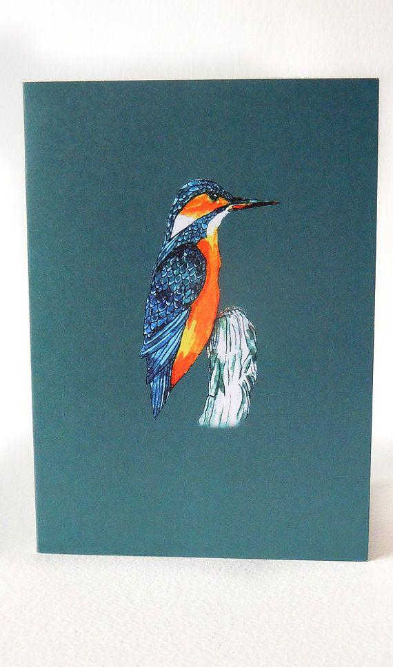 Greetings Card Blank Card Kingfisher Design Bird Card Birthday Card Designed Printed In The Uk Blank Cards Bird Cards Birthday Cards
