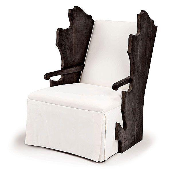 #014 - Oak Leaf Wing Chair – Shown in weathered oak