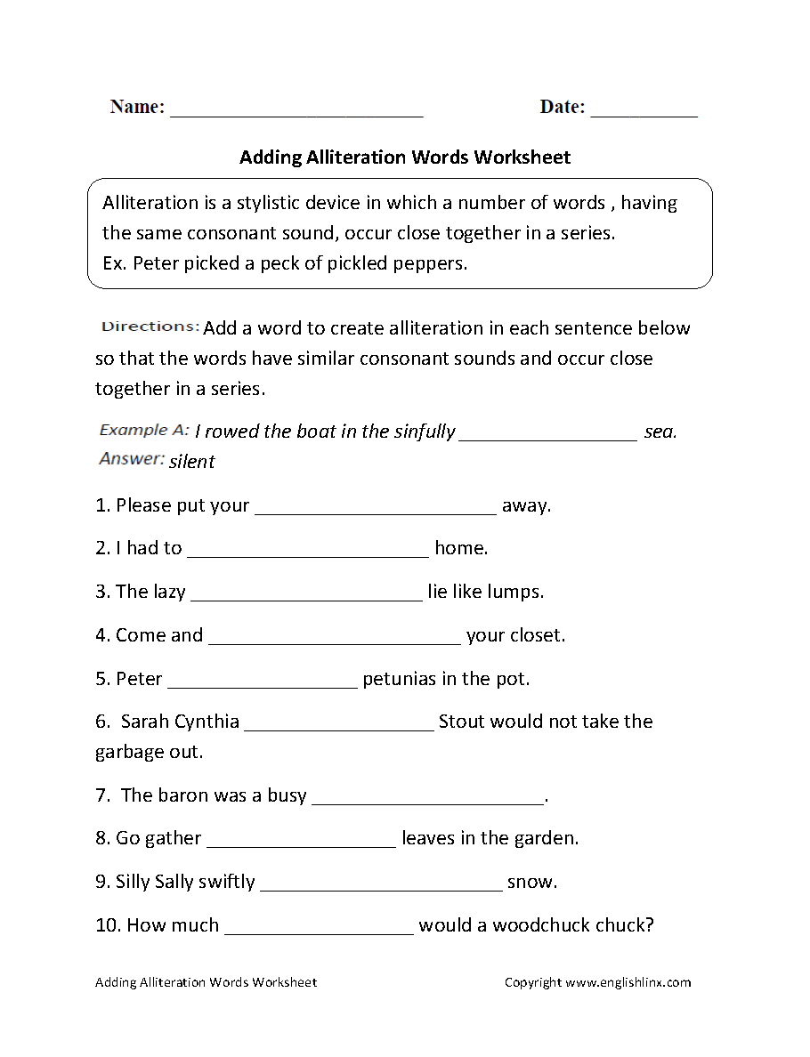Adding Alliteration Words Worksheet | English Literature | Pinterest