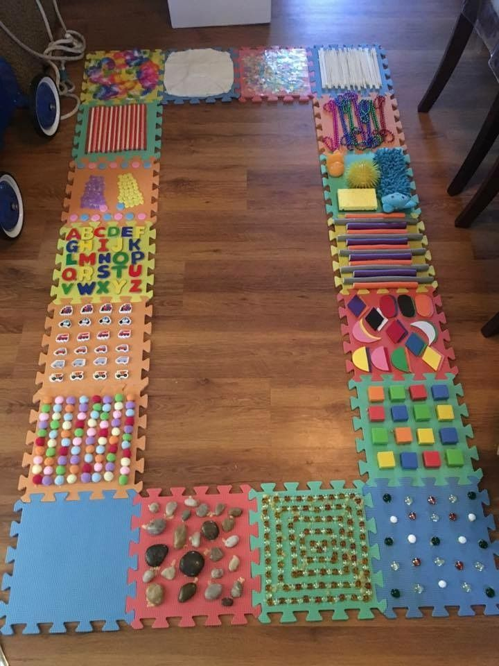 Diy Sensory Walk Using Foam Puzzle Tiles Baby Sensory Toddler