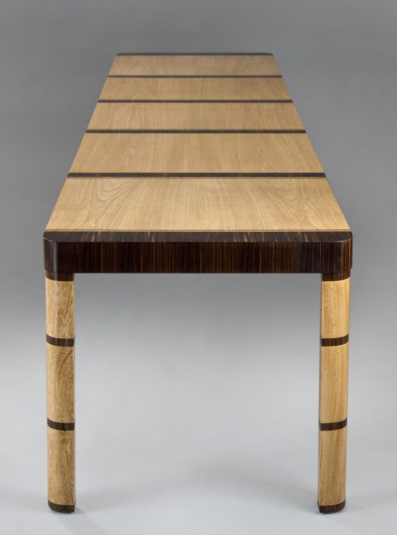 An Elm & Macassar Extendable Dining Table by Otto Schulz | From a unique collection of antique and modern dining room tables at http://www.1stdibs.com/furniture/tables/dining-room-tables/
