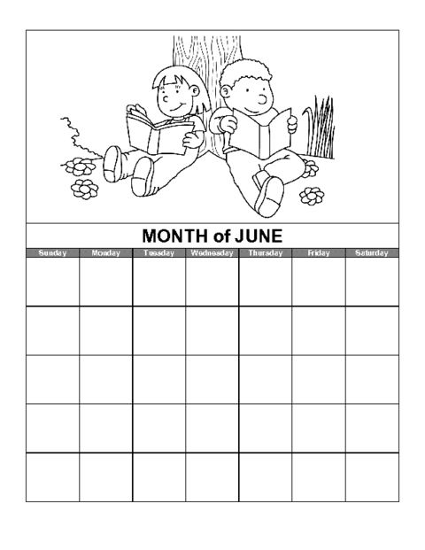 Education World June Calendar Template  Room