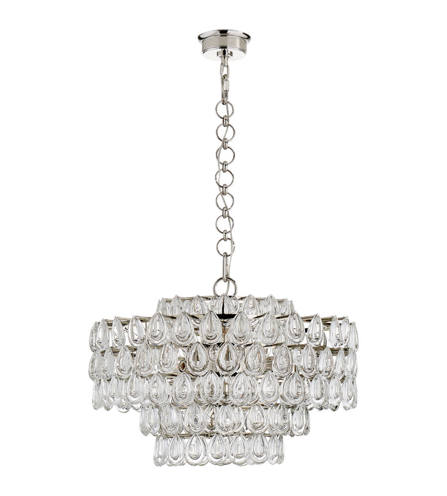 Visual Comfort ARN5170BSL-CG AERIN Lesina Chandelier in Burnished Silver  Leaf with Crystal - Visual Comfort ARN5170BSL-CG AERIN Lesina Chandelier In Burnished