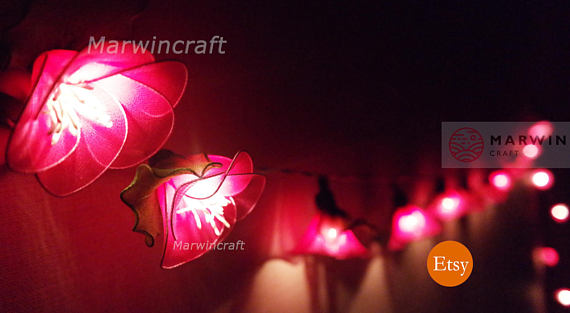 Pink String Lights 20 Pink String Lights Rain Lilly Flower Fairy Lights Bedroom Home