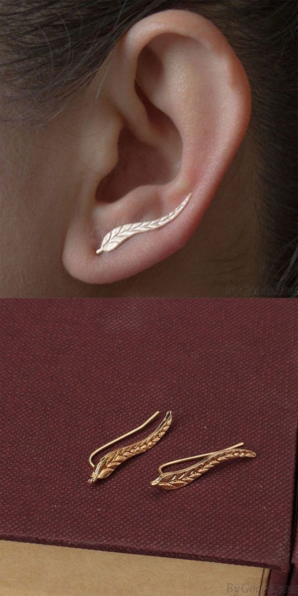 Leisure Metal Tree Leaf Earrings Ear Clip Leaves Earring Studs