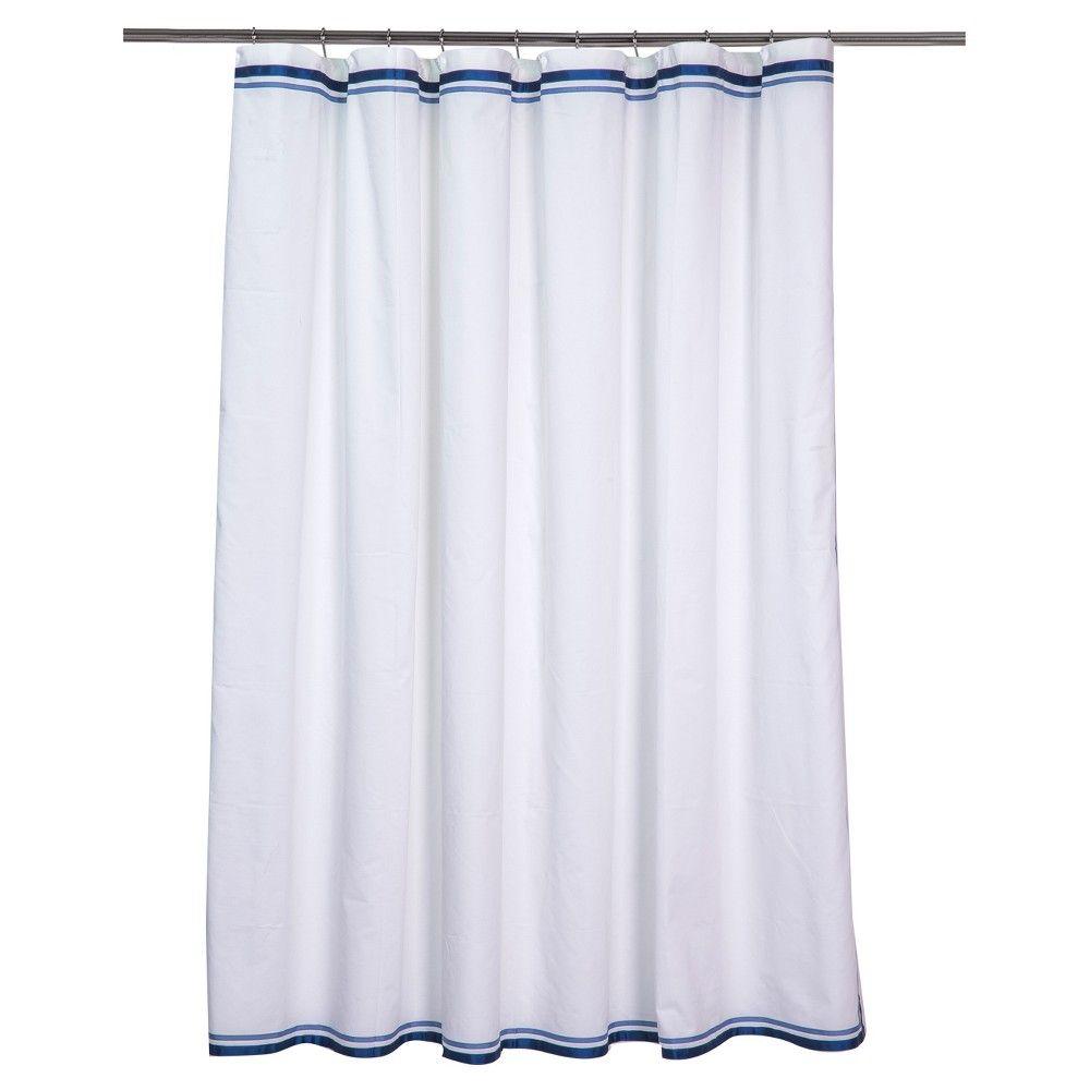Shower Curtain Ribbon Border White