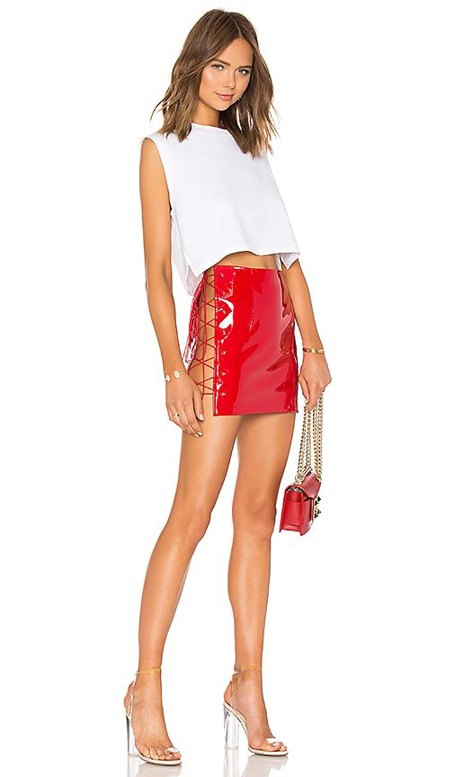 Danielle Guizio Devoiler Skirt In Red Revolve Look