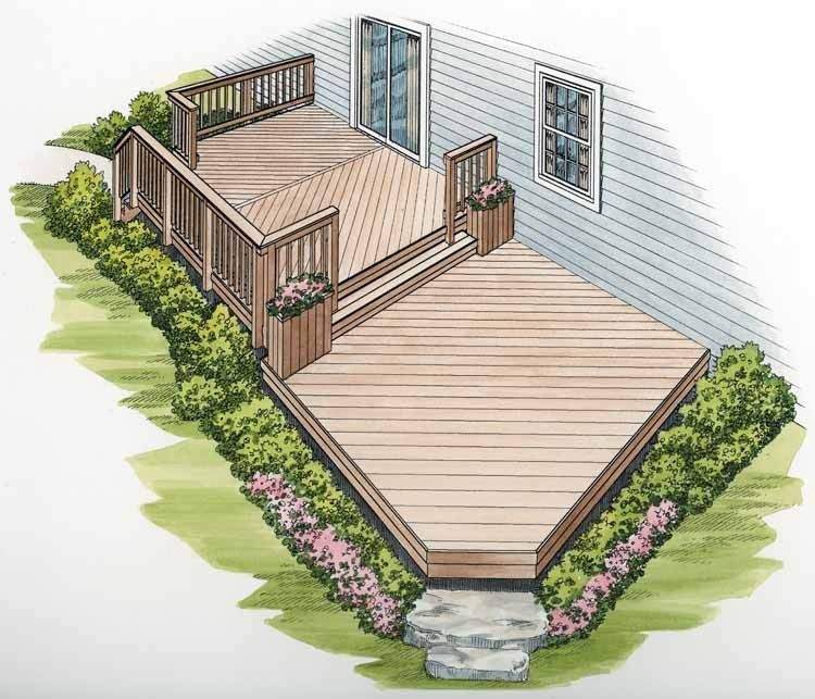 Blueprints For Patio Decks: Two-Level Deck With Diagonal Flooring