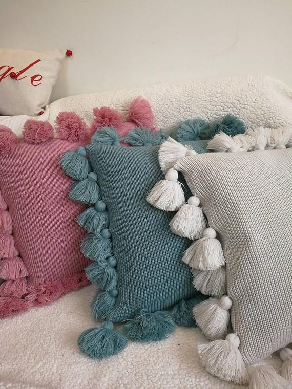 Base Fabric: acrylic The cushion cover without insert. Handmade. Size: 18x18 All...