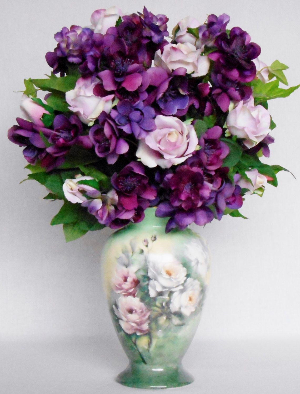 Silk Flower Arrangement Pink Roses Purple Blossoms Handpainted