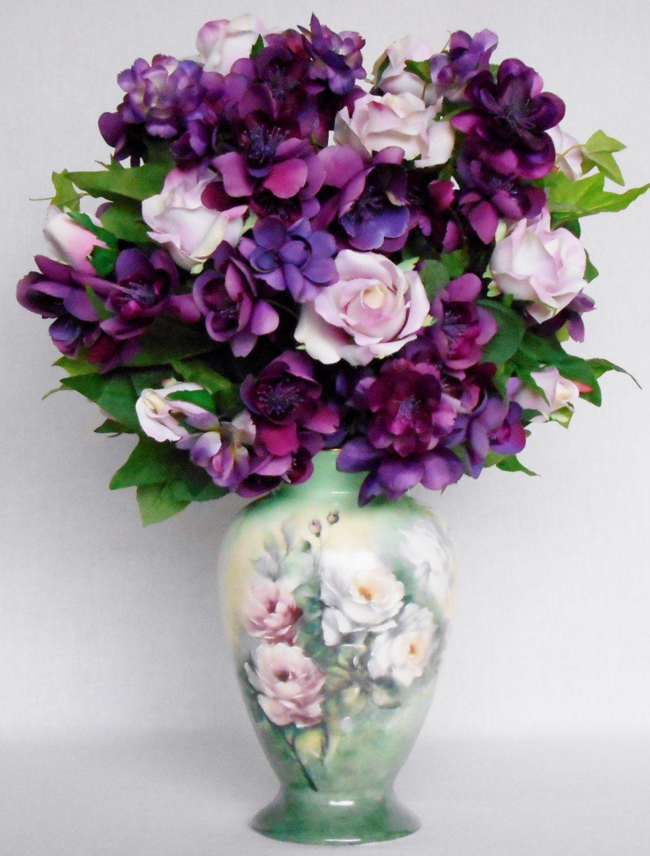 Home decor artificial flowers  Silk Flower Arrangement Pink Roses Purple Blossoms Handpainted
