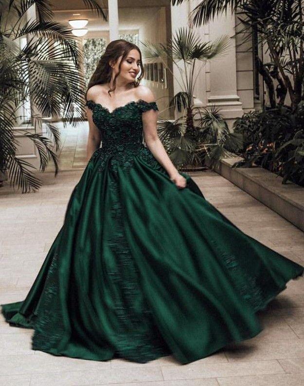 Günstige Grüne Abendkleider Lang Mit Spitze Prinzessin ...