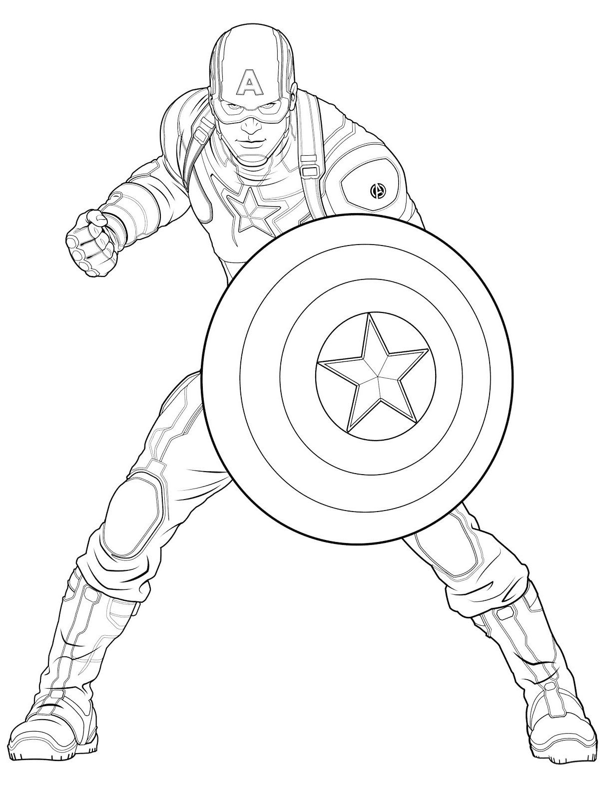 Easy Free Captain America Coloring Page To Download Avengers Coloring Pages Superhero Coloring Pages Captain America Coloring Pages