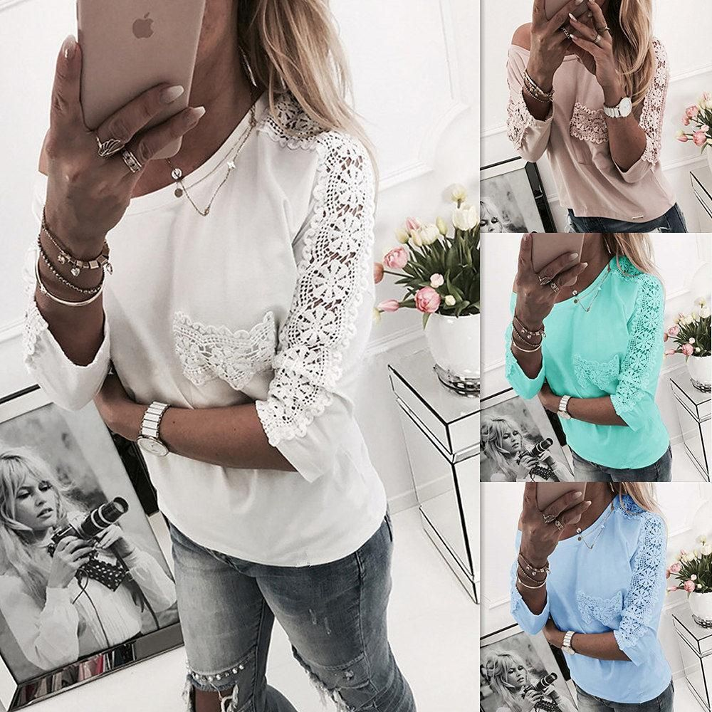 44abb6e6e42f63 Lace Scoop Patchwork Loose Candy Color Blouse #womensfashion #outfits  #fashion #dresslover #fashionstyle #fashionlover #shopaholic  #mayyourfashion #party