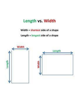 Length Vs Width Visual And Practice Sheet Combo Practice Sheet Width Math Help