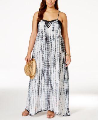 d060861e93c30 Raviya Plus Size Lattice-Back Tie-Dye Cover-Up Dress