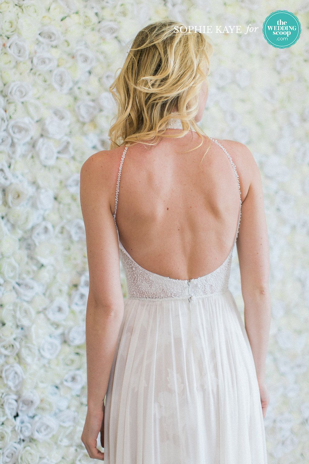 Limor Rosen beautiful backless detail with flowy skirt // We're still dreaming of these refreshing New York Bridal Fashion Week finds from Alexandra Grecco, CHRISTOS BRIDAL, Leanne Marshall and Limor Rosen Bridal Couture! Like your favs, Wedding Scoopers! // 📷: Sophie Kaye Photography for The Wedding Scoop